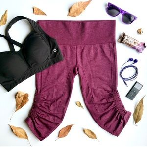 Lululemon In The Flow Crop Heathered Bordeaux 8